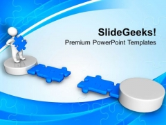 3d Men With Blue Puzzle Business PowerPoint Templates And PowerPoint Themes 1112