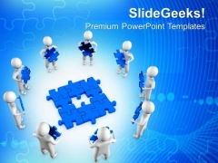 3d Men With Blue Puzzles PowerPoint Templates And PowerPoint Themes 0912