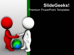 3d Men With Globe Shaking Hands PowerPoint Templates Ppt Backgrounds For Slides 0213