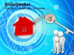 3d Men With Red House Key Real Estate PowerPoint Templates Ppt Backgrounds For Slides 1212