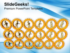 3d People Running In Gear Wheels PowerPoint Templates Ppt Backgrounds For Slides 0213