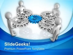 3d People With Gears Business Progress PowerPoint Templates Ppt Backgrounds For Slides 0713