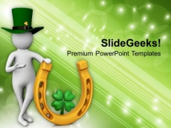 3d Person With Lucky Symbol Patricks Day PowerPoint Templates Ppt Backgrounds For Slides 0313