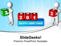 3d Persons Changing 2012 Cubes New Year Concept PowerPoint Templates Ppt Backgrounds For Slides 1112