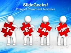3d Persons Holding Red Puzzle Pieces PowerPoint Templates Ppt Backgrounds For Slides 0113
