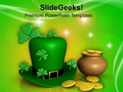 3d Pot With Coins And Shamrock Hat PowerPoint Templates Ppt Backgrounds For Slides 0313