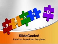3d Puzzle Pieces Forming Word Brand Business PowerPoint Templates Ppt Backgrounds For Slides 1112