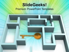 3d Rendered Labyrinth And The Key PowerPoint Templates Ppt Backgrounds For Slides 0213