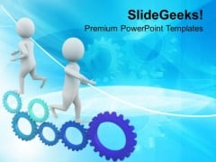 3d Running Men On Gears PowerPoint Templates Ppt Backgrounds For Slides 0713