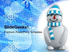 3d Snowman On Christmas Background PowerPoint Templates Ppt Backgrounds For Slides 1112