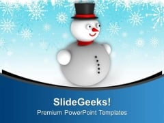 3d Snowman With Hat Background Christmas PowerPoint Templates Ppt Backgrounds For Slides 0113