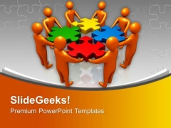 3d Team Combines Jigsaw Puzzles Solution PowerPoint Templates Ppt Backgrounds For Slides 0313