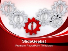 3d Team Leader With His Team In Gears PowerPoint Templates Ppt Backgrounds For Slides 0713