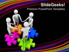 3d Team On Colorful Puzzle Business Factors PowerPoint Templates Ppt Backgrounds For Slides 0113
