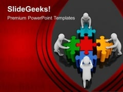 3d Team Pushing Puzzle Pieces PowerPoint Templates Ppt Backgrounds For Slides 0213