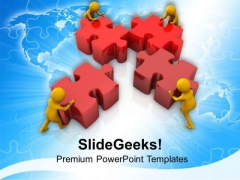3d Team Solving Puzzle PowerPoint Templates Ppt Backgrounds For Slides 0813