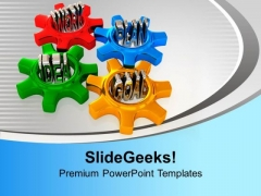 4 Gears Interconnected Issues Goal Idea PowerPoint Templates Ppt Backgrounds For Slides 0213