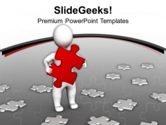 A 3d Man With Right Solution Business Theme PowerPoint Templates Ppt Backgrounds For Slides 0413
