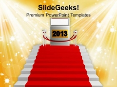 A Stairway With Red Carpet New Year PowerPoint Templates Ppt Backgrounds For Slides 1212