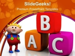 Abc Alphabetic Cubes Education PowerPoint Templates And PowerPoint Themes 0412