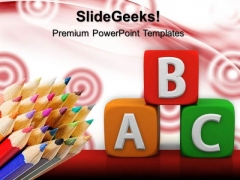 Abc Blocks With Pencils Education PowerPoint Templates And PowerPoint Themes 0512