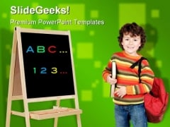 Adorable Child Studying Education PowerPoint Backgrounds And Templates 1210