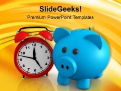 Alarm Bell And Blue Piggy Bank Future PowerPoint Templates Ppt Backgrounds For Slides 0313