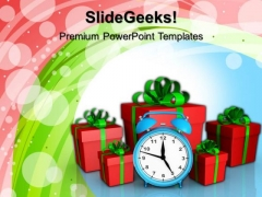 Alarm Clock And Gift Boxes Birthday PowerPoint Templates And PowerPoint Themes 1012