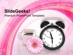 Alarm Clock With Beautiful Flower Mug PowerPoint Templates Ppt Backgrounds For Slides 0313