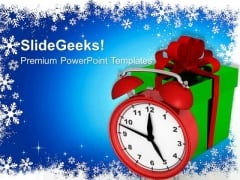 Alarm Clock With Gifts Christmas Event PowerPoint Templates Ppt Backgrounds For Slides 1112