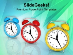 Alarm Clocks For Time Management PowerPoint Templates Ppt Backgrounds For Slides 0413