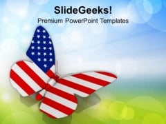 American Freedom Flag On Butterfly PowerPoint Templates Ppt Backgrounds For Slides 0913