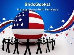 American Unity Globe People PowerPoint Template 1010