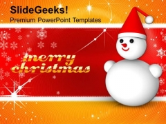 Analogy Of Snowman On Christmas Background PowerPoint Templates Ppt Backgrounds For Slides 1212