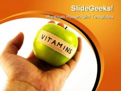 Apple With Vitamins Health PowerPoint Templates And PowerPoint Backgrounds 0211
