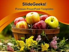Apples Picnic Basket Food PowerPoint Themes And PowerPoint Slides 0211