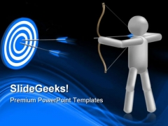 Archery With Target Success PowerPoint Templates And PowerPoint Backgrounds 0511