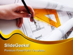 Architectural Desk Construction PowerPoint Themes And PowerPoint Slides 0211