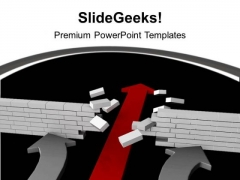 Arrow Breaking Wall Solution Business PowerPoint Templates Ppt Backgrounds For Slides 1212