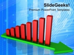 Arrow Towards Growth By Bar Graph PowerPoint Templates Ppt Backgrounds For Slides 0313