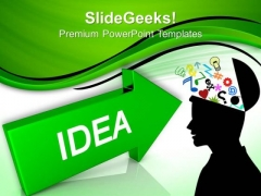 Arrow With Idea Technology PowerPoint Templates And PowerPoint Themes 0812