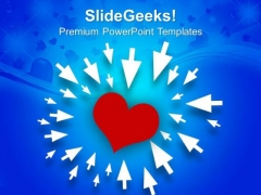 Arrows Pointing Love Symbol PowerPoint Templates Ppt Backgrounds For Slides 0213