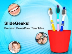 Assorted Tooth Brushes In Holder Dental PowerPoint Templates Ppt Backgrounds For Slides 0313