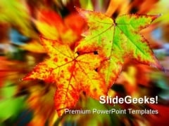 Autumn Leaves Nature PowerPoint Template 0610