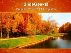 Autumn Park Beauty PowerPoint Template 1010