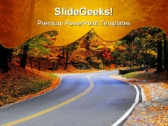 Autumn Road Nature PowerPoint Templates And PowerPoint Backgrounds 0511