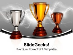 Award Winner Trophies Success Sports PowerPoint Templates Ppt Backgrounds For Slides 0313