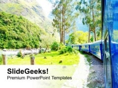 Awesome View Of Turning Train On Mountain PowerPoint Templates Ppt Backgrounds For Slides 0713