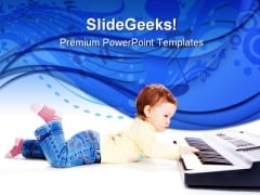 Baby Plays Music PowerPoint Themes And PowerPoint Slides 0311