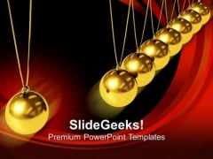 Balancing Balls Newton Cradle Golden PowerPoint Templates And PowerPoint Themes 1012